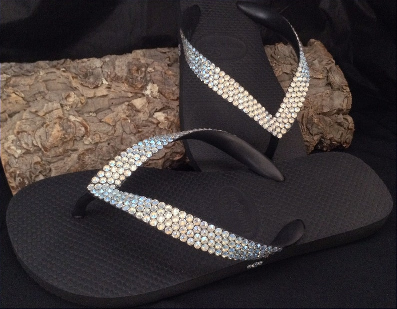 9448e3cb1 Custom Crystal Flip Flops w  Swarovski Ivory Cream Moonlight
