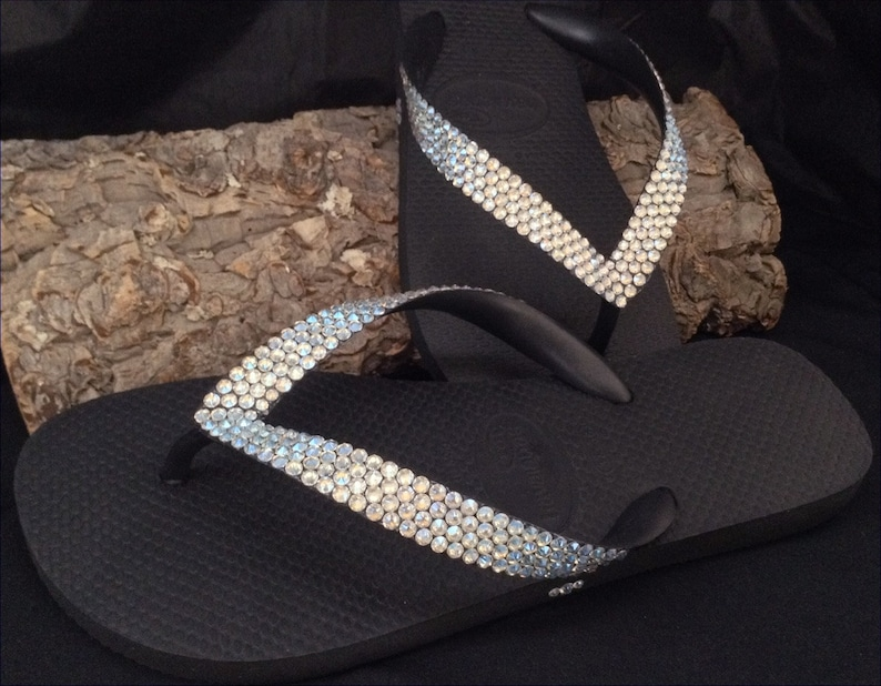 eb3f36cc7d75a Custom Crystal Flip Flops w  Swarovski Ivory Cream Moonlight Solid BLING  Rhinestone Havaianas or Cariris Wedge 1.5 Heel Beach Wedding Shoes