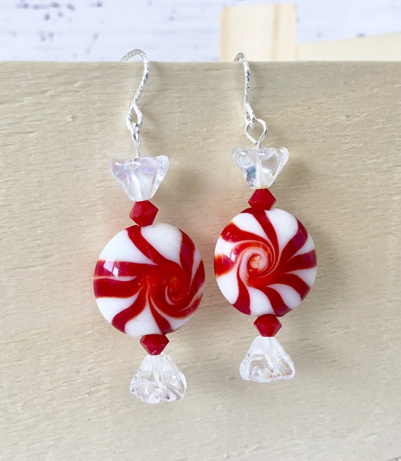 Christmas Candy Peppermint Lampwork Earring Drop Dangle Ear Wire French Hook Silver Titanium Hypo w/ Swarovski Crystal Festive Holiday Gifts