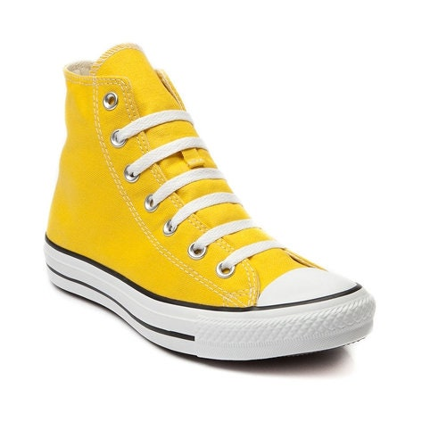 Yellow Converse High Tops Sunflower Lemon Sun Bling Canvas w  Swarovski  Crystal Rhinestone Chuck Taylor All Star Bridal Wedding Sneaker Shoe 5e9477bf9d09