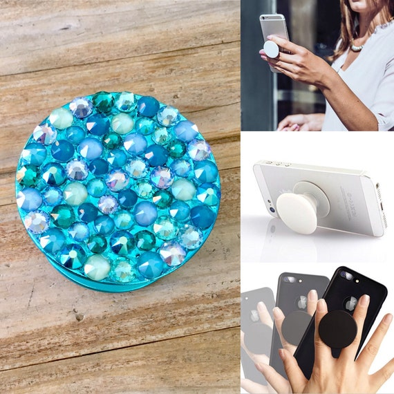 Crystal Phone Pop Grip Stand Dock 3M Turquoise Teal Blue Green w/ Swarovski Bling Rhinestone Android Galaxy iPhone Case Tech Gadget Gift