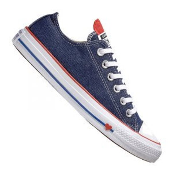 Blue Jean Navy Converse Love Heart Stonewashed Denim Low Top Custom w/ Swarovski Crystal Chuck Taylor Rhinestone All Star Sneakers Shoes