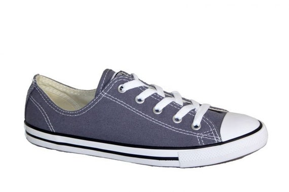 Slate Blue Converse Slip on Navy Gray Dainty Low Bridal flat w/ Swarovski Crystal Chuck Taylor Rhinestone All Star Ladies Sneakers Shoes