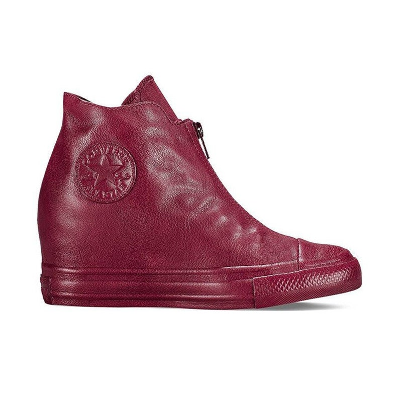 abb5ada5759 Burgundy Pink Red Converse Leather High Rise Lux Hidden Wedge