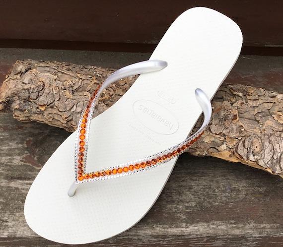 e49c171fe925fb White Flip Flops Havaianas Slim flat Tangerine Peach Mango