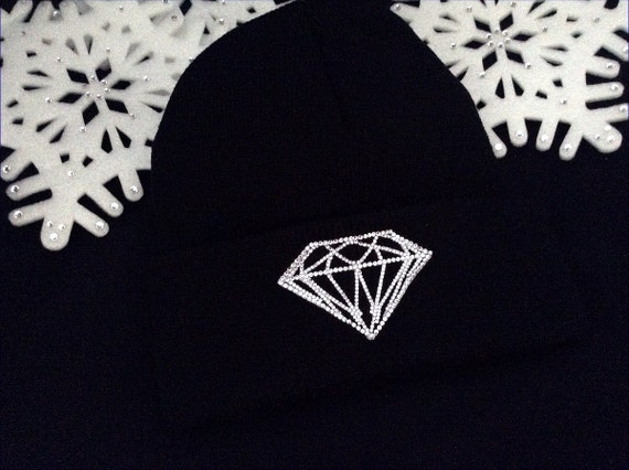 Toque Winter Hat w/ Swarovski Crystal Clear Collector GlassSlippers Black White Pink  Beanie Hip Hop Holiday Skull Cap Rhinestone Bling Gift