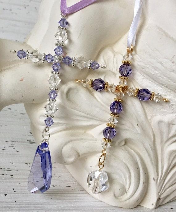Cross Crucifix handmade w/ Swarovski Crystal Purple Silver Gold Bead Mirror Christmas Tree Ornament Book Bible Bookmark Sunday Holiday Gifts