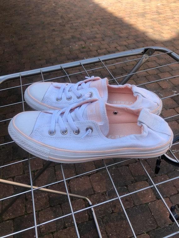 White Coral Pink Wash Converse Slip on Shoreline Ladies Custom Kicks w/ Swarovski Crystal Bling Chuck Taylor All Star Wedding Sneakers Shoe
