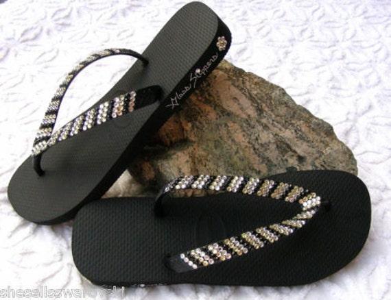 Pin Stripe Crystal Flip Flops Sandal Havaianas flat or Cariris 1.5 Wedge heel w/ Swarovski Rhinestone Jewel Wedding Beach Bridal Thong Shoes