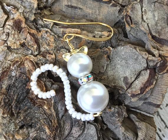 White Cat Earrings or Pendant Charm Swarovski Pearls Halloween Kitten 22k Gold Drop Dangle Titanium Hypo Trick or Treat Costume Cosplay Gift