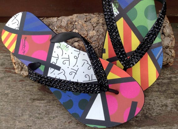 Custom Flip Flops Dupė Collector Romero Britto Artistic Multi Colored Black Sandals Brazil w/ Swarovski Crystal GlassSlippers Thong Shoes
