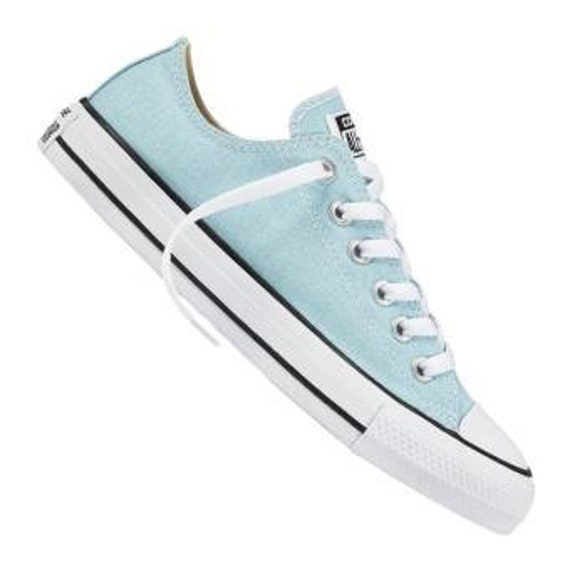 Powder Blue Converse Low Top Wedding Bliss Bride Glacier Ocean w/ Swarovski Crystal Kicks Bridal Bling Chuck Taylor All Star Sneakers Shoes