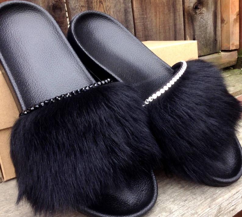 20ef35f5b01 Womens Black UGG Australia Royale Toscana Fur Slide Slippers US W 8 Custom  w/ Swarovski Crystal Jewel Wedding Flip Flops Bling Slip On Shoe