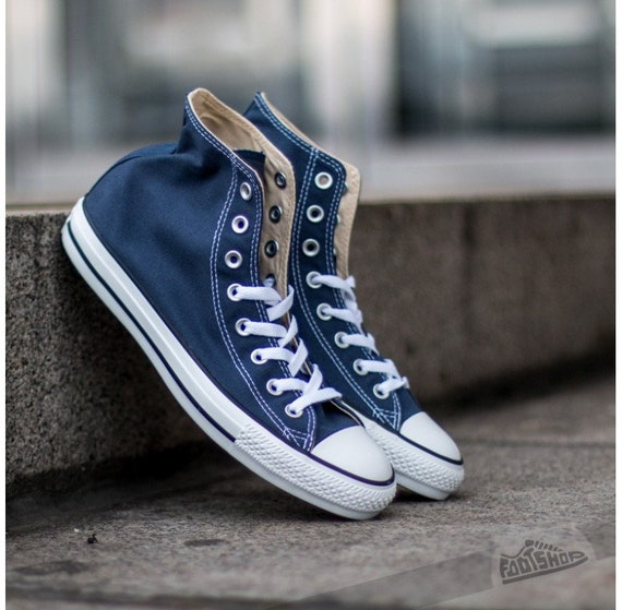 Navy Blue Converse High Top Mens Ladies Bridal Kicks w/ Swarovski Crystal Rhinestone Bling Wedding Groom Chuck Taylor All Star Sneakers Shoe