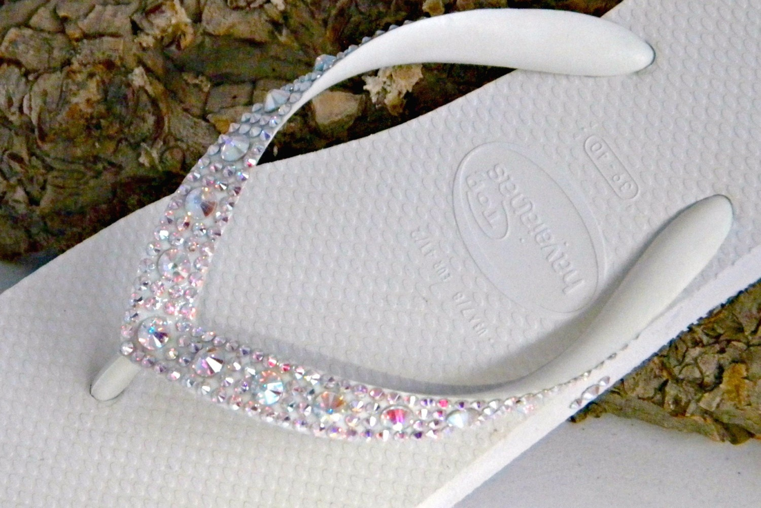 b16e98360 Wedding Flip Flops Custom Havaianas Glass Slippers w  Swarovski Crystal AB  gemstones Beach Bridal Full Moon Iridescent Low Wedge Bling Shoes