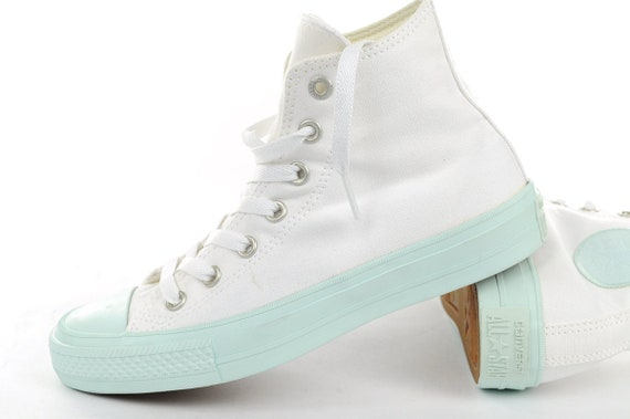 cb36a786e1ffa0 White Converse High Top Fiberglass Aqua Mint Custom Bling w