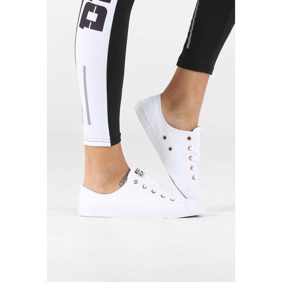 White Converse Dainty W US 9.5 Low Gold Mono Canvas Chuck Taylor Custom w/ Swarovski Crystal Rhinestone Bling All Star Wedding Sneakers Shoe