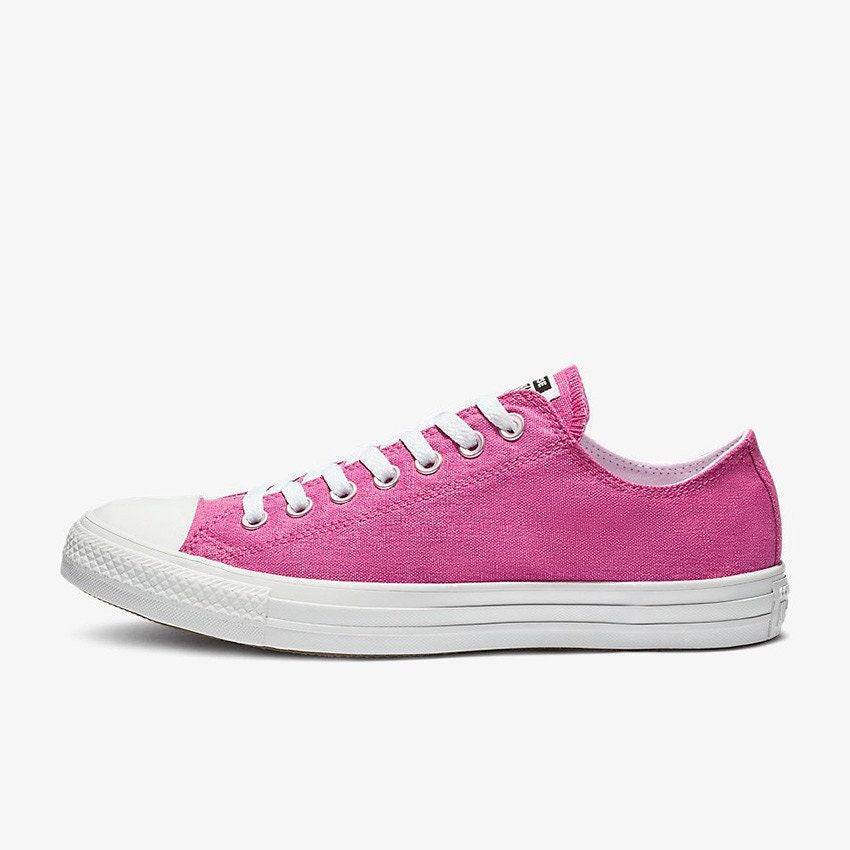 92c2d665aac1 Fuchsia Hot Pink Converse Low Stonewashed Silver Custom w  Swarovski Crystal  Rhinestone Bling Chuck Taylor All Star Wedding Sneakers Shoes