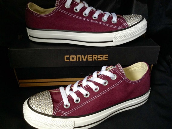 Burgundy Converse Maroon Cranberry Wine Red Mens Canvas Low Top w/ Swarovski Crystal Rhinestone Chuck Taylor All Star Wedding Sneakers Shoes