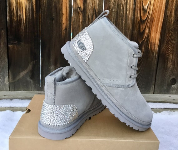 Custom Ice Gray Grey UGG Neumel Short Boots Silver Slip on Slippers Ladies SheepsWool Fur Suede Laced Fall Winter w/ Swarovski Crystal Shoes