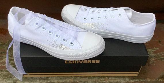 Sparkle Converse White Monochrome Canvas Low Chuck Taylor Sprinkle Glitter Bling Bride w/ Swarovski Crystal Rhinestone Wedding Sneakers Shoe