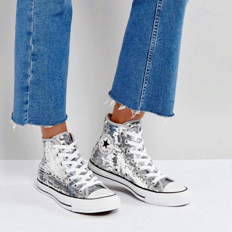 3150c86ca6f4 Silver Converse Sparkle High Top Sequins Wedding Glitter Gray
