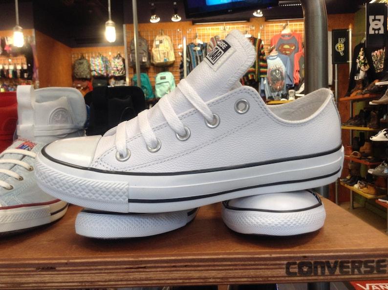 White Leather Converse Low Top Ladies Mens w  Swarovski  2db5259a2db9