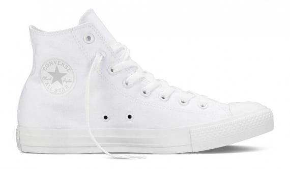 White Converse High Top Canvas Trainer Mono Groom Custom Bridal w/ Swarovski Crystal Rhinestone Chuck Taylor Wedding All Star Sneakers Shoes