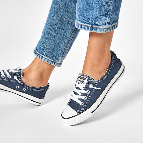 Navy Blue Converse Shoreline Slip on Kicks Custom w/ Swarovski Crystal Rhinestone Jewels Bling Chuck Taylor All Star Wedding Sneakers Shoes