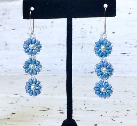 Blue Flower Earring Glass Czech Bead Drop Dangle Gold Silver Hypo Titanium Earwire Allergy Ladies Mothers Day Wedding Bridesmaid Gift