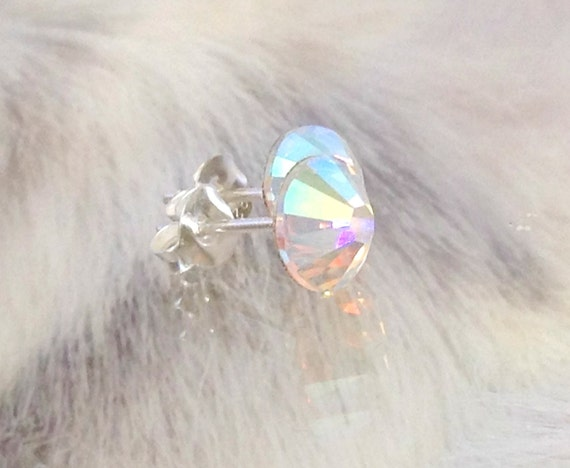 Crystal stud Earring Swarovski Crystal AB Iridescent or Custom Color jewel 6.5-7mm Xilion Rhinestone Minimalist Silver Titanium Post Jewelry