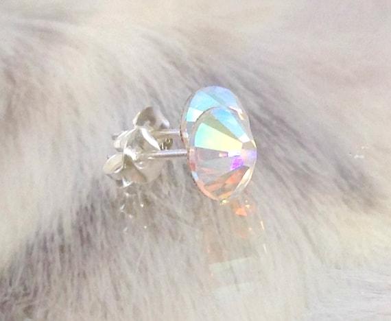 Crystal stud Earring Swarovski Crystal AB Iridescent or Custom Color jewel 6.5-7mm Xilion Rhinestone Minimalist Silver Titanium Post Jewelry