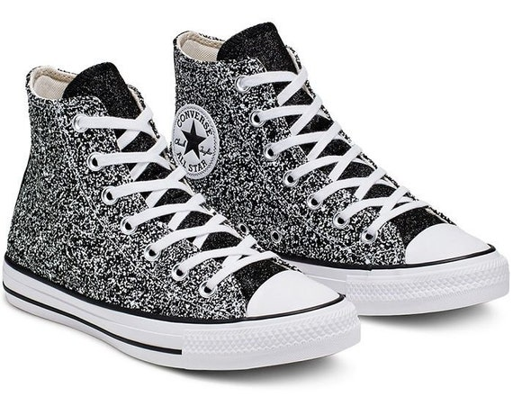 Sparkle Silver Converse Black Glitter High Top Gray Metallic Chuck Taylor Custom w/ Swarovski Crystal Rhinestone Bling All Star Sneaker Shoe