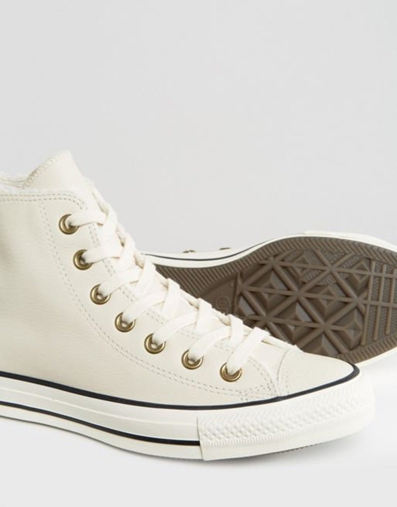 White Fur Converse Lined Leather Boot High Tops W US 8 Ivory Bone w Swarovski Crystal Bling Chuck Taylor All Star Wedding Sneakers Shoes