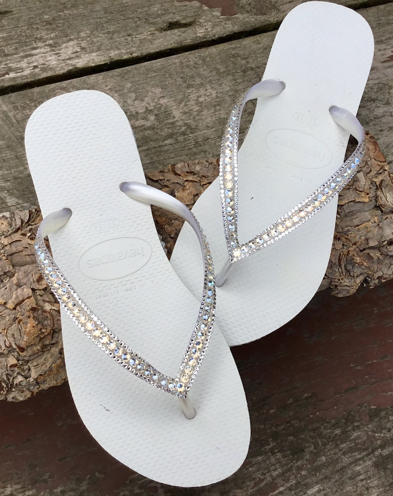 24fbc59fc71e4 White Havaianas Flip Flops Slim Ivory Moonlight Crystal Ocean Custom Bridal  w  Swarovski Bling Dynamite Rhinestone Beach Wedding Thong Shoes