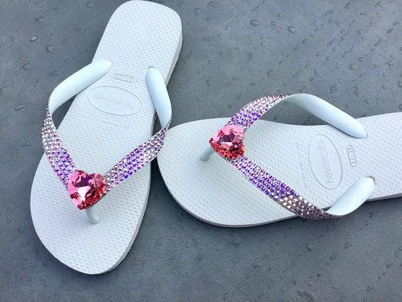 Crystal Heart Flip Flops Valentine Wedding Havaianas flat Cariris Wedge Heel Custom Reception w/ Swarovski Rhinestone Jewel Bridal Shoes