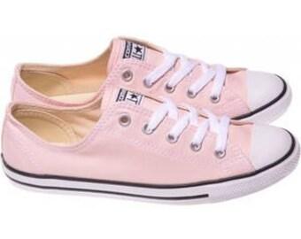 Pink Converse Dainty Blush Bridal Slip on Custom Bride Kicks w/ Swarovski Crystal Rhinestone Gem Chuck Taylor All Star Wedding Sneakers Shoe