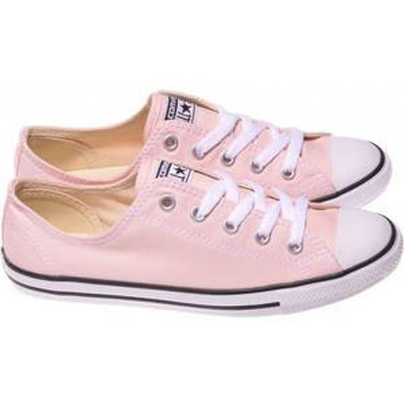 Pink Converse Dainty Blush Wedding Custom Bride Kicks w/ Swarovski Crystal Jewel Rhinestone Bling Chuck Taylor All Star Trainer Sneaker Shoe