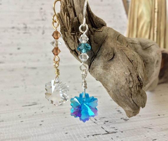 Snowflake Earrings Aqua AB Crystal Glass Drop Dangle Wire French Hook Gold Silver Titanium Hypo w/ Swarovski Jewels Ladies Christmas Gifts