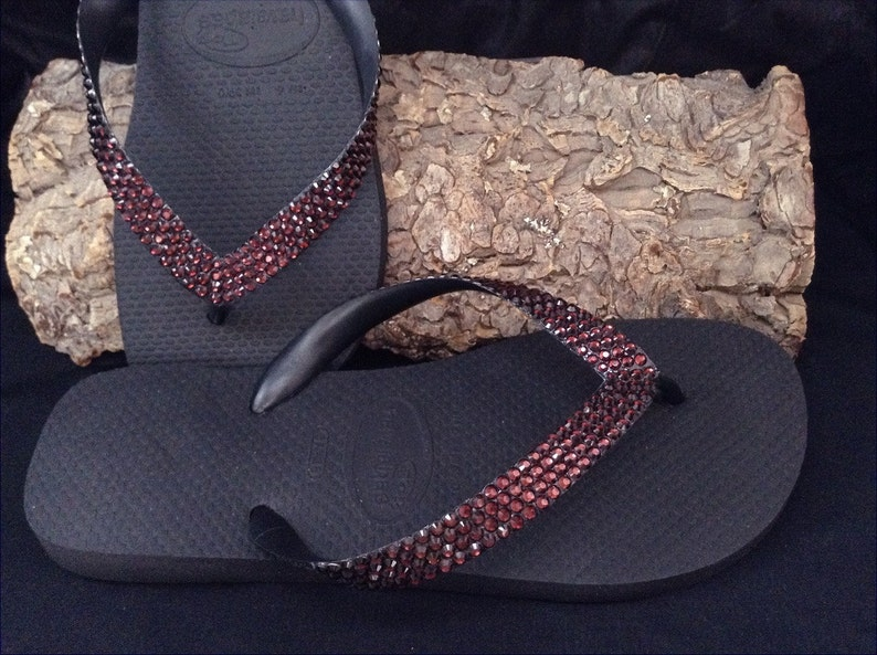 e91c67abb Burgundy Red Flip Flops Custom Crystal Wine Maroon w