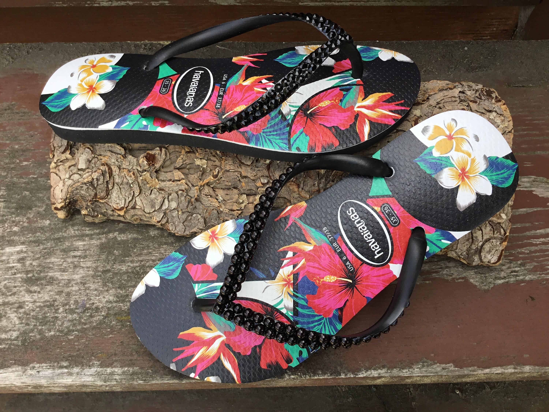 06fd87e2c8a58 Black Havaianas Slim flat Pearl Crystal Flip Flops Aloha Hawaii ...