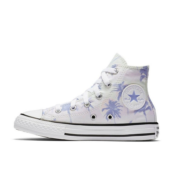 394fa61afed09a Kids Converse High Top Toddler Youth Beach Palm Tree Tie Dye