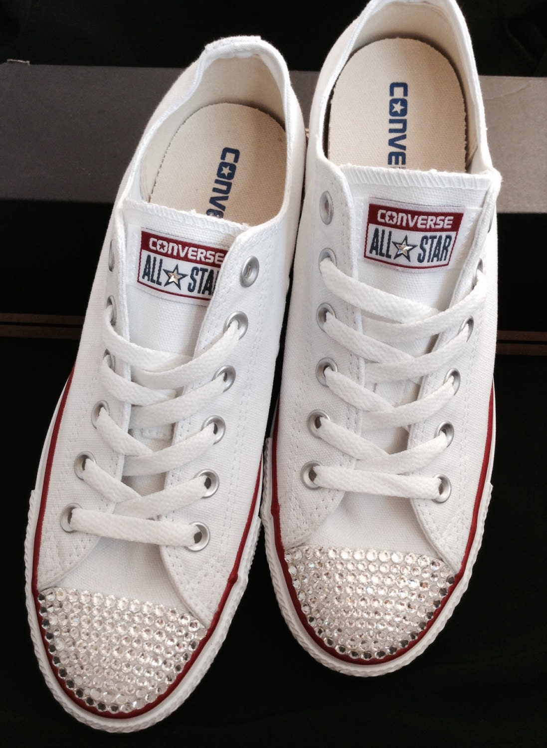 White Converse Kicks Ladies Mens Custom Canvas Low Top w  Swarovski Crystal  Bling Rhinestones Chuck Taylor All Star Wedding Sneakers Shoes 9dae64e37
