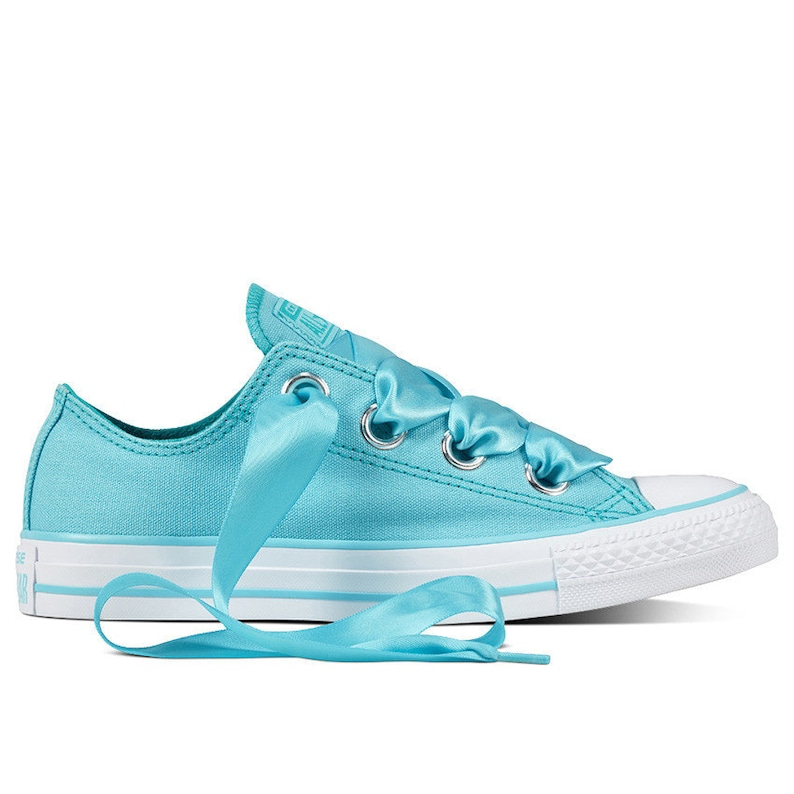 13881bf637e3 Aqua Blue Converse Low Top Teal Turquoise Bride Satin Ribbon