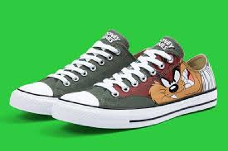 01d99bbc70f271 Looney Tunes Converse Classic Retro Cartoon Taz Devil Olive