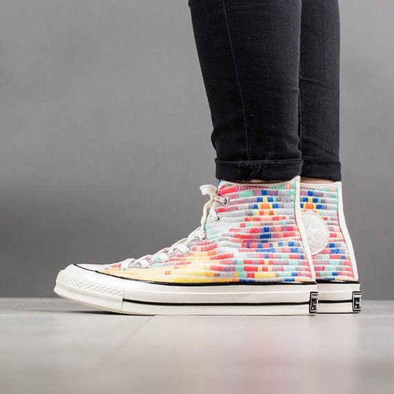 Mara Hoffman W US 8 Rainbow Converse High Top 70s Quilted Knit Embroidery wSwarovski Crystal Rhinestone Chuck Taylor All Star Sneaker Shoe