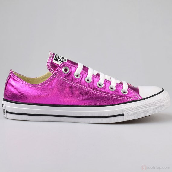 Hot Pink Converse Low Top Fuchsia Magenta Wedding Chuck Taylor Custom Kicks w/ Swarovski Crystal Rhinestone All Star Bridal Sneakers Shoes