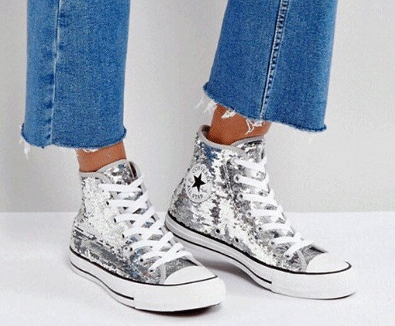 Silver Converse Sparkle High Top Sequins Wedding Glitter Gray Custom w Swarovski Crystal Rhinestone Chuck Taylor All Star Sneakers Chaussures