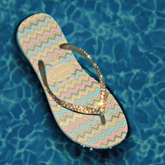 Gold Flip Flops Havaianas Zig Zag Slim Collector Glass Slippers w/ Swarovski Crystal US 6 - 7 Beach Shoes Sand Beige Rhinestone Bling Sandal