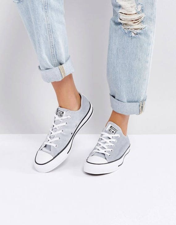Silver Gray Converse Velvet Chuck Taylor Low Top Custom Crystal Kick Grey w/ Swarovski Rhinestone Bling All Star Bride Wedding Sneakers Shoe